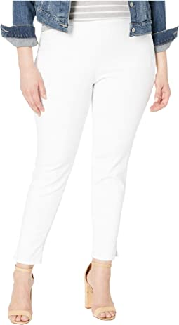 Plus Size Pull-On Skinny Ankle w/ Slit in Optic White