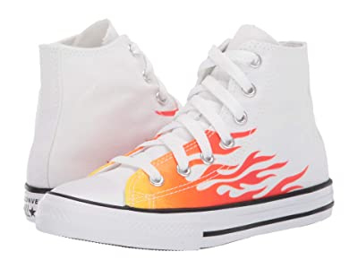 Converse Kids Chuck Taylor(r) All Star(r) Archive Flame Hi (Little Kid) (White/Enamel Red/Fresh Yellow) Boys Shoes