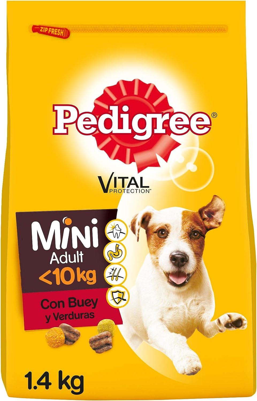 Pedigree Pienso para Perros Adultos Mini Sabor Buey y Verduras (Pack de 6 x 1,4kg)