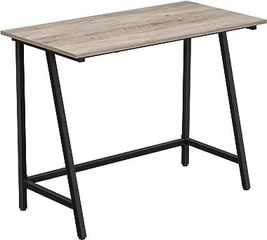 VASAGLE Bureau, Table Informatique, Table d'Ordinateur, Cadre en Acier, Dessus de Table Rustique, Poste de Travail, Montage F
