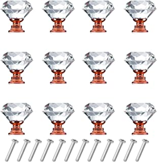 12 Pack Drawer Knobs Diamond Shaped Crystal Glass 30mm Cabinet Knobs Pull Handles (Rose Gold)
