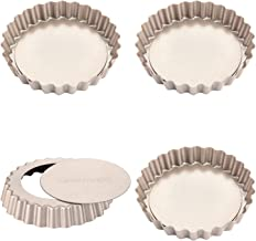 CHEFMADE Mini Tart Pan Set, 4-Inch 4Pcs with Removable Loose Bottom Non-Stick Round Quiche Bakeware for Oven and Instant P...