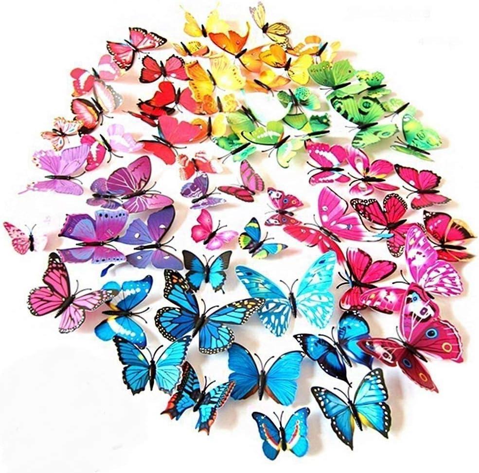ElecMotive 72 Pcs 6 Packs Beautiful 3D Rem Decals Butterfly Wall Japan's largest assortment Low price