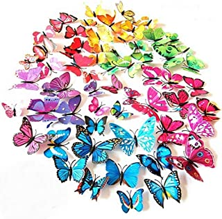ElecMotive 72 Pcs 6 Packs Beautiful 3D Butterfly Wall Decals Removable DIY Home Decorations Art Decor Wall Stickers & Murals for Babys Bedroom TV Background Living Room (72 pcs in 6 Colors)