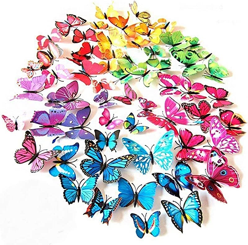 ElecMotive 72 Pcs 6 Packs Beautiful 3D Butterfly Wall Decals Removable DIY Home Decorations Art Decor Wall Stickers Murals For Babys Bedroom TV Background Living Room 72 Pcs In 6 Colors
