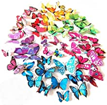 ElecMotive 72 Pcs 6 Packs Beautiful 3D Butterfly Wall Decals Removable DIY Home..
