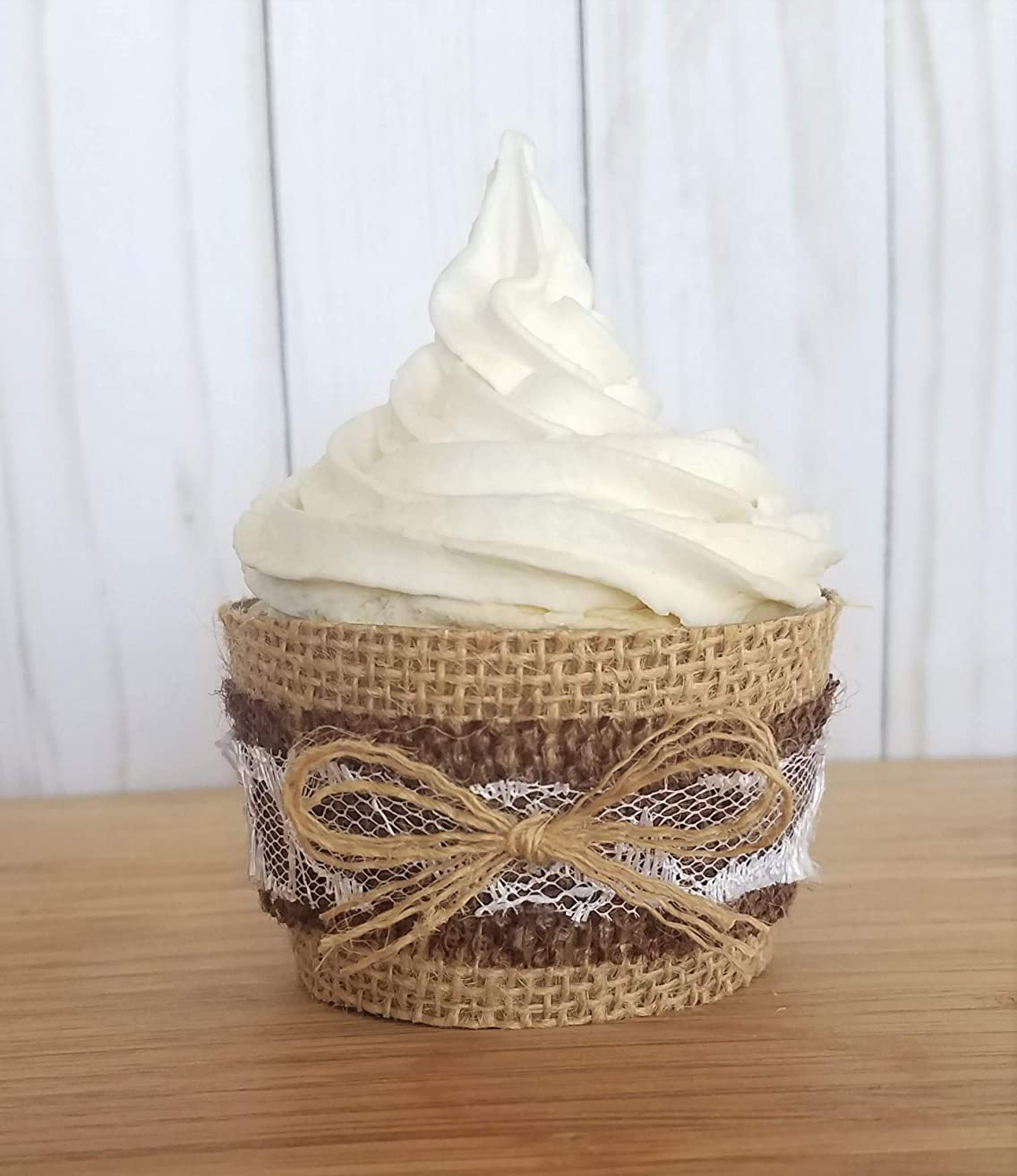 Burlap Cupcake Holders, Rustic Wedding Cupcake Wrappers, Burlap and Lace Cupcake Liners, Shabby Chic or Boho Baby Shower Cup Cake Sleeves Set of 12 Standard Size, Rustic Wedding Decorations