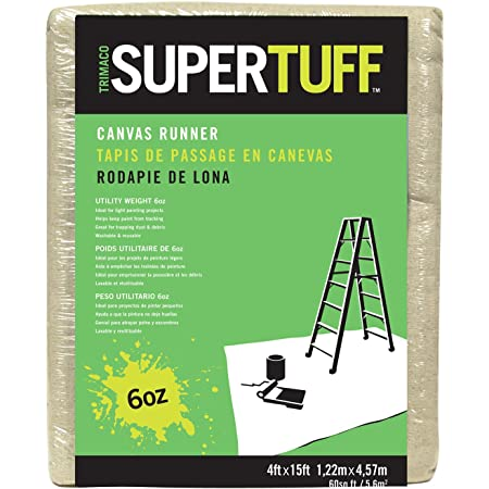 Trimaco 56708 SuperTuff 6 oz thick Utility Weight Canvas Drop Cloth, 4-feet x 15-feet,Beige