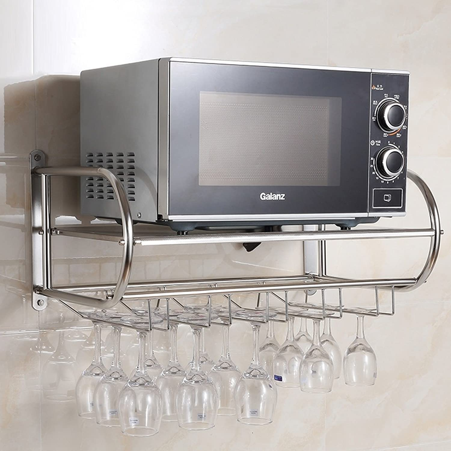 Stainless Steel Microwave Rack, Wine Glass Holder Goblet Hanger Wine Rack, Kitchen Wall Hanging -by TIANTA (color   Silver, Size   59cm)