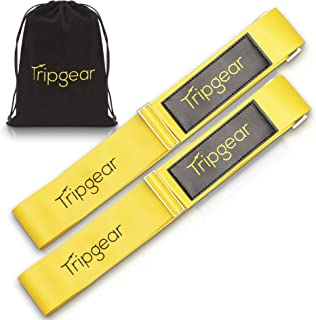 Premium Luggage Strap - Luggage Belt with extra strong Fastener (Yellow - 2pcs + velvet bag)