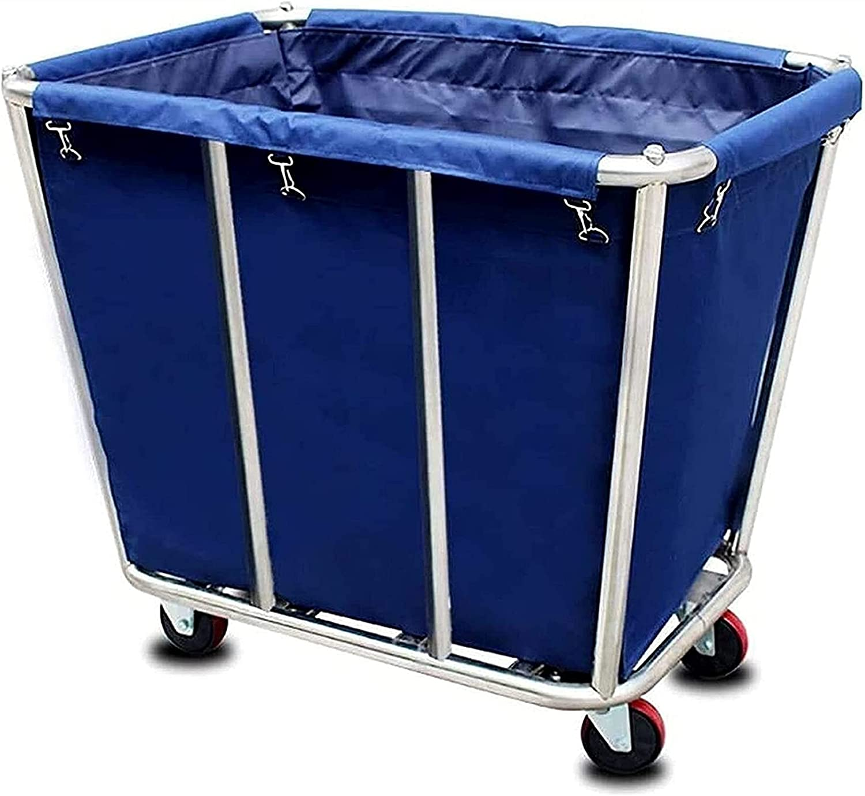 WWWL Cesta de lavandería, Carrito Industrial de Acero Inoxidable Carrito de Almacenamiento Castrero para Hotel/Home, 150kg / 33 0LBS Carga, (350 l) (Color : Blue)