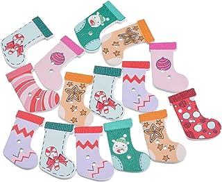 Estampa de meias de Natal aleatória com estampa de 2 furos e botões de madeira Souarts, pacote com 50 peças