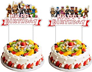 2 Pieces Happy Birthday Cake Topper for Roblox Cake Decoration,Party Supplies Toppers