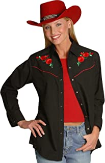 ELY CATTLEMAN Women's Long Sleeve Western Shirt with Red Rose Embroidery