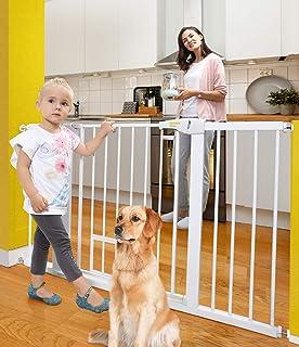 Puertas de bebé para puertas y escaleras de perro para la casa, 76,6 a 54.1in, puertas de seguridad para niños o mascotas con puerta de paseo, cierre automático de puerta de metal extra ancho