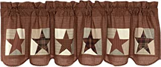 VHC Brands Country Memorial Day Kitchen Curtains Abilene Patch Block Rod Pocket Cotton Appliqued Textured Star 20x72 Valance, Burgundy Red