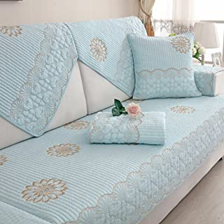 DW&HX Four Seasons Universal 100% Cotton Sofa slipcover Furniture Protector for pet Dog,3 Seats Quilted Solid Color Thicken Sofa Covers Anti-Slip-A 28x28inch(70x70cm)