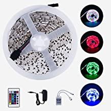 Starbea LED Strip Light, 16.4ft RGB 3528 SMD Light Strips with 24-Key Controller and 12V Power Supply, for Home, Party Decoration