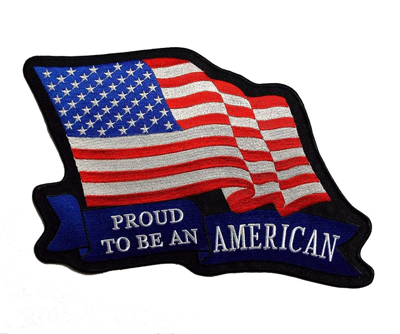 Large USA Flag Proud To Be An American Back Patch Embroidered Iron Sew On