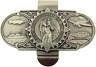 WJH Pewter Saint Christopher Be My Guide Land Sea and Air Visor Clip, 2 3/8 Inch