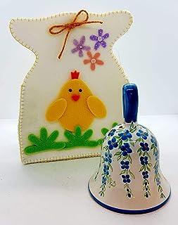 Campanella in Ceramica Linea Fiori Azzurri + Sacchetto in feltro artigianale Pezzo Unico - Handmade Le Ceramiche del Caste...