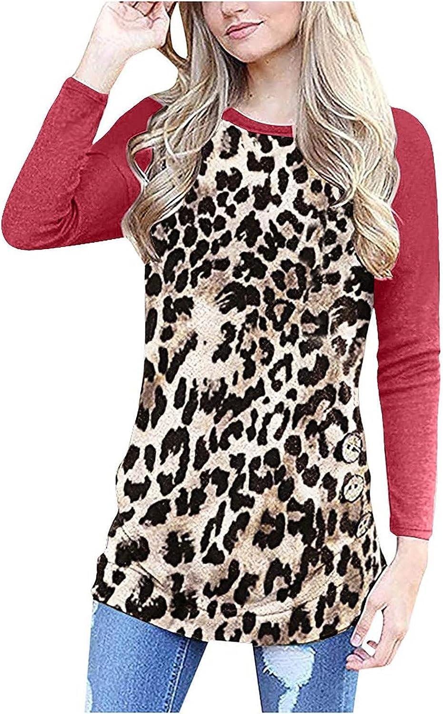 QXDLDHT Women Long Sleeve Loose Leopard Our shop Don't miss the campaign most popular Trim Blouse Button Round