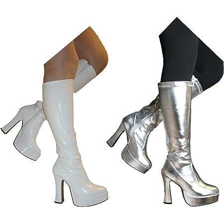 Ladies 70s Platform Shoes Adults 60s GoGo Boots Hippie Fancy Dress UK 4-6