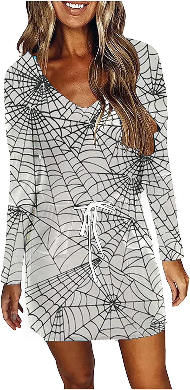 EZ Tuxedo Long Sleeve Waist Drawstring Plus Size Dress for Women V Neck Feather Print Slim Tunic Dress with Pockets