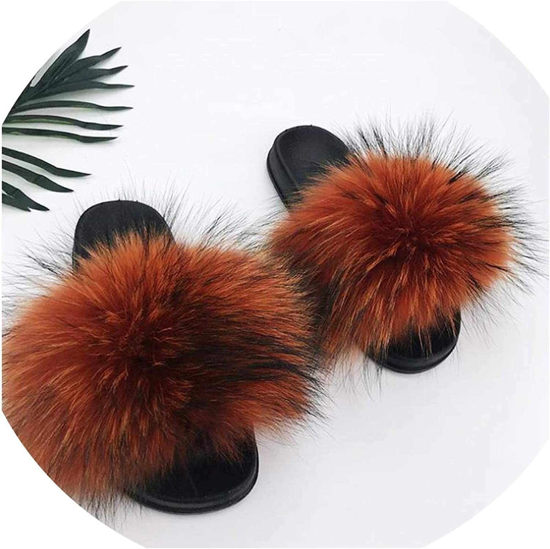 Just XiaoZhouZhou Real Raccoon Fur Slippers Women Sliders Casual Fox Hair Flat Fluffy Fashion Home Summer Big Size 45 Furry Flip Flops shoes,Caramel color,9