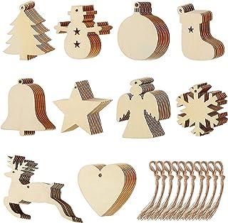 Viccess 100 Pezzi Natale Ciondolo in Legno Decorazioni Natale Legno Ornamenti di Natale Decorazioni per Albero di Natale A...