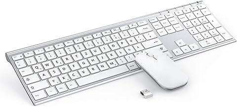 Jelly Comb Ultraslim Tastatur und Maus Set, 2.4G Kabellose Tastatur mit Funkmaus..