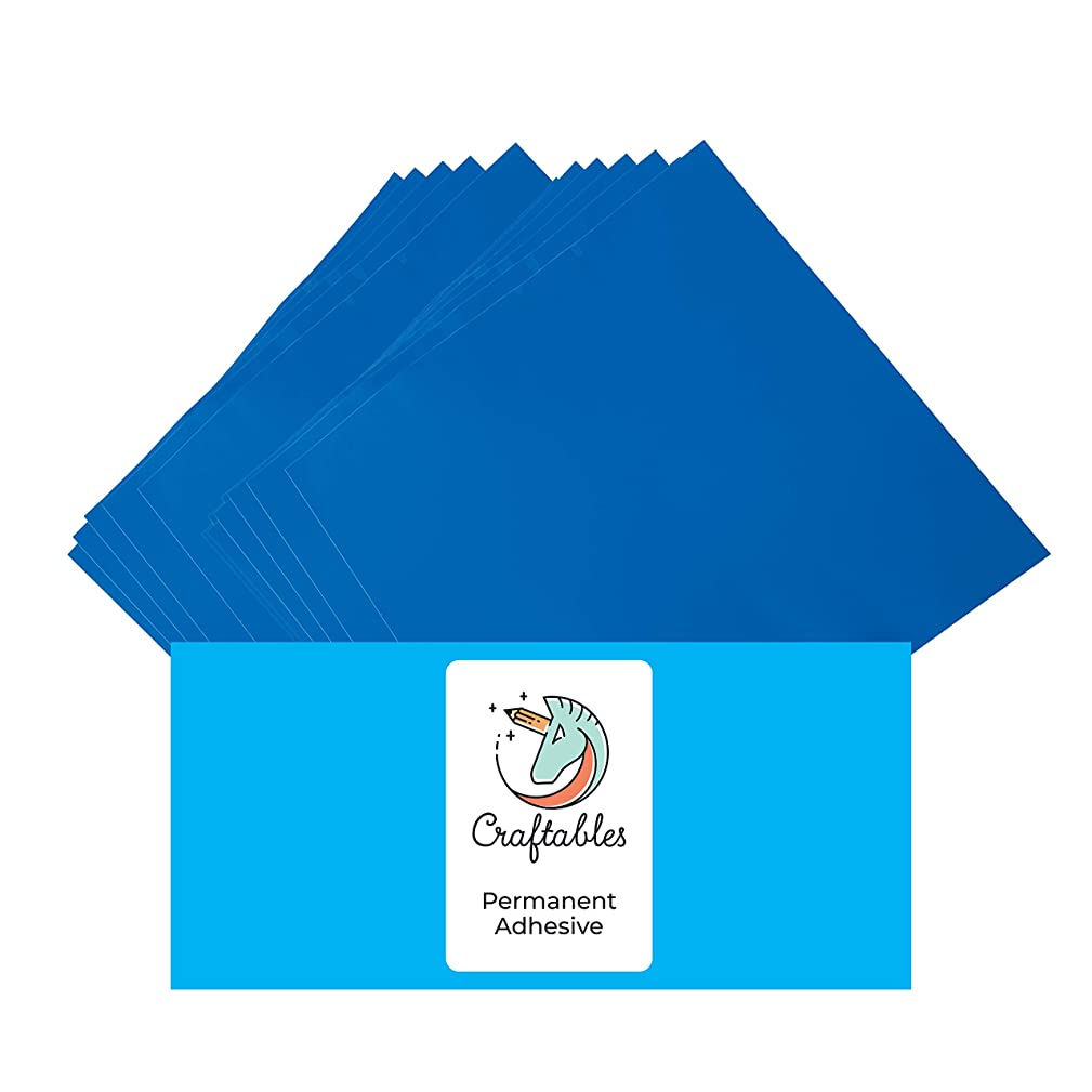 Craftables Blue Vinyl Sheets - Permanent, Adhesive, Glossy & Waterproof | (10) 12