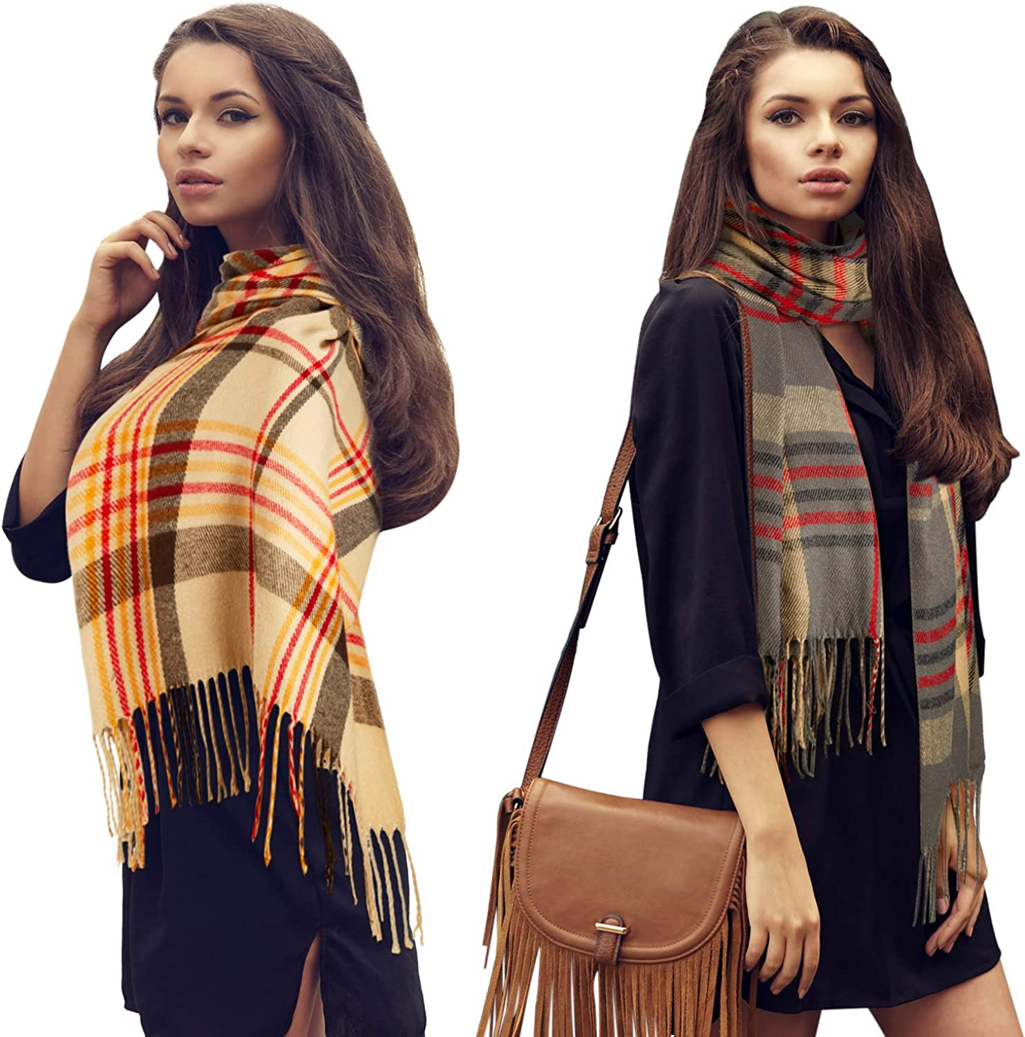 2 Pieces Women Buffalo Atlanta Mall Plaid Scarf with Buttons Max 88% OFF Blanket Oversize