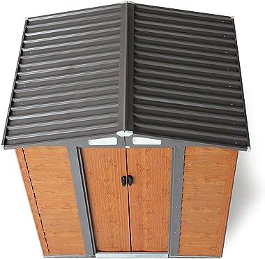 JAXPETY 5'x6' Ft Outdoor Garden Backyard Steel Tool Storage Shed Building w/Sliding Door