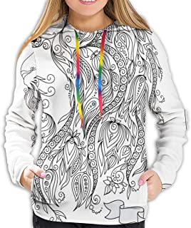 Women's Hoodie,Visage of Zodiac Leo with Flowers On Hair King of Forest Horoscope Theme,Lady Sweatshirt
