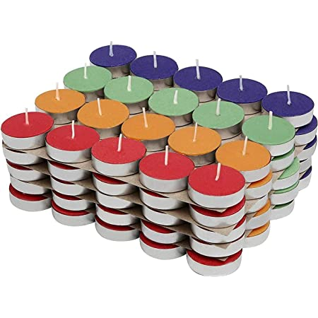 PROSPERRO LUMO by Parkash Candles Coloured Tea Light Set of 100 Unscented, Multicoloured, Small (CD - 106 Set 2)