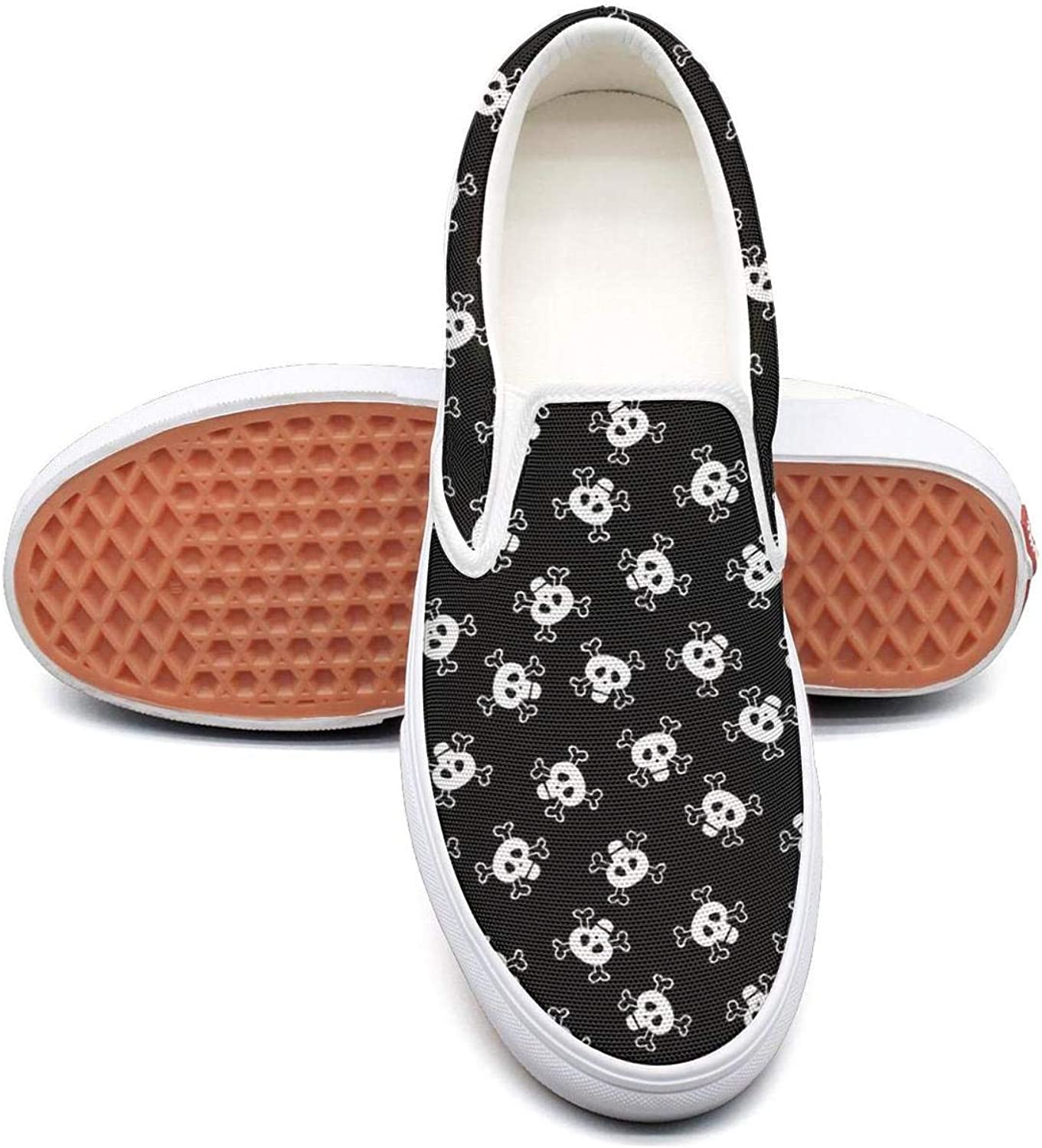 Skulls Fun Halloween Slip On Rubber Sole Loafers Canvas shoes for Women Fashion