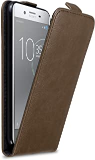 Cadorabo Case Works with Sony Xperia XZ Premium in Coffee Brown - Flip Style Case with Magnetic Closure - Wallet Etui Cover Pouch PU Leather Flip