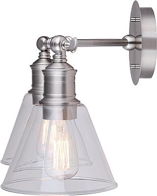 CANARM IVL628A02BN LTD Larken 2 Vanity Light, Brushed Nickel with Clear Glass