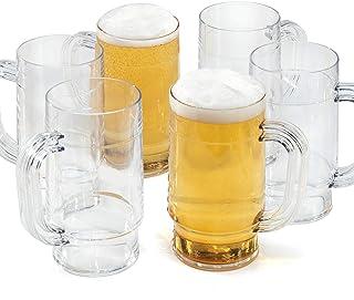 Vasos de Cerveza Plastico Jarra reutilizables policarbonato irrompibles duro 66cl pint - Juego de 6 copas