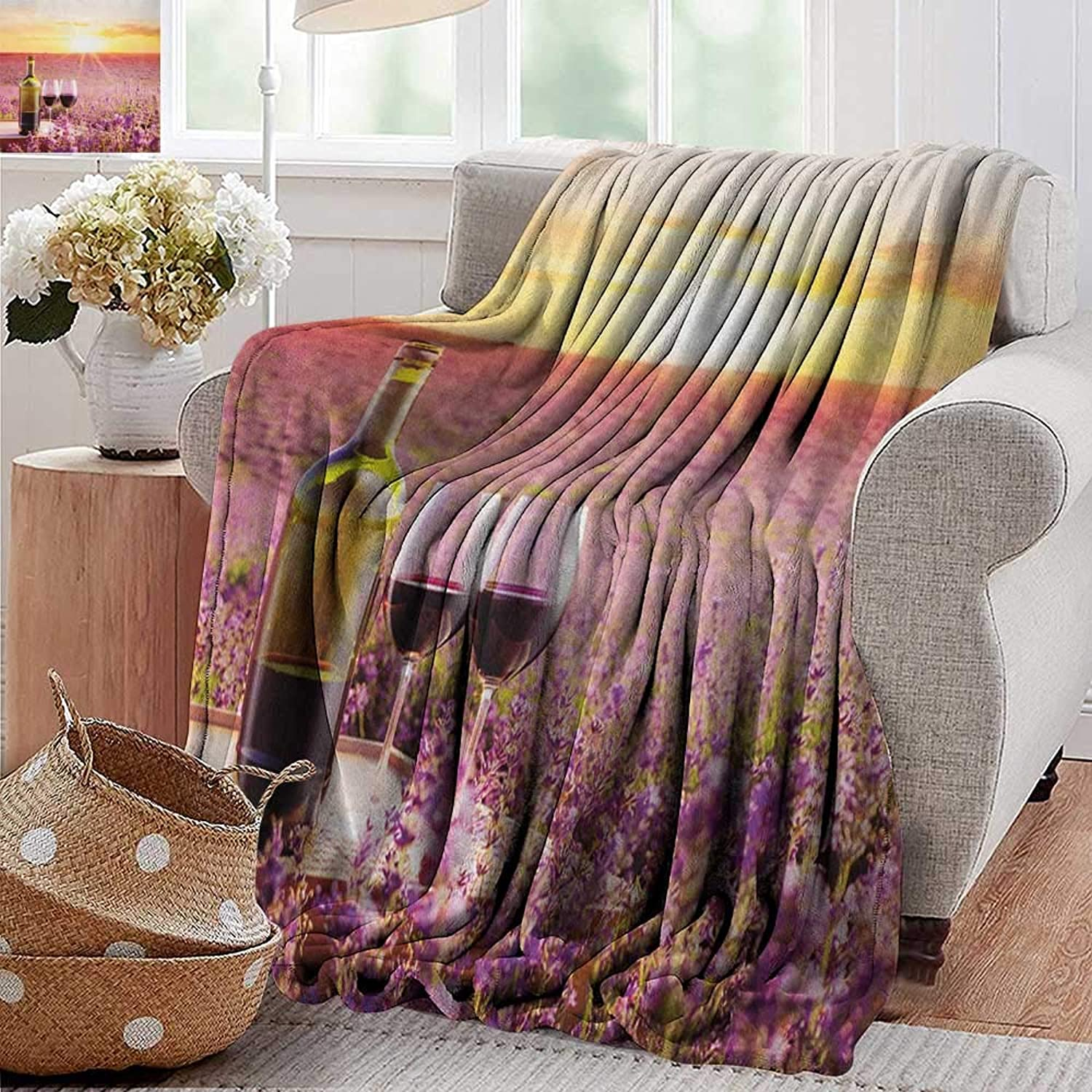 Weighted Blanket for Kids,Wine,Bottle of Wine Against Blossoming Lavender Landscape Country Meadow Picnic, Lavander Yellow Green,Weighted Blanket for Adults Kids, Better Deeper Sleep 50 x60