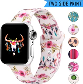 Bertiveny Rubber Band Compatible with Apple Watch Series 5 4 3 2 1 Women Silicone Band for Iwatch 38mm 40mm 42mm 44mm Double Side Pattern Wristband(WatercolorBullSkullFlowers Feathers,42/44MM-S/M)