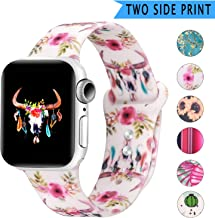 Bertiveny Rubber Band Compatible with Apple Watch Series 5 4 3 2 1 Women Silicone Band for Iwatch 38mm 40mm 42mm 44mm Double Side Pattern Wristband(WatercolorBullSkullFlowers Feathers,38/40MM-S/M)