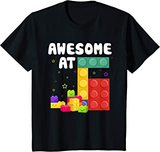 Kids 6th Birthday Building Blocks Bricks Theme Party Awesome At 6 T-Shirt