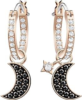 Crystal Duo Moon Black Rose Gold-Tone Hoop Earrings