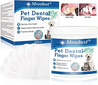 Mroobest Pet Dental Fingers Wipes, Pet Cleansing Wipes, Oral Cleansing Teeth Wipes Pads for Teeth Cleaning, Optimize Oral ...