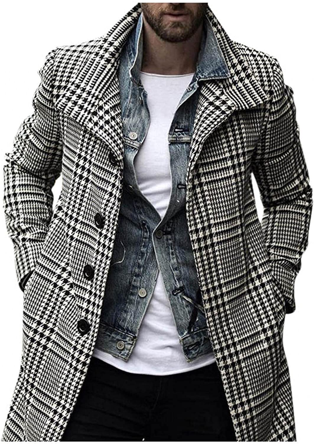 Mens Casual Trench Coat Wool Blend Top Pea Coat Winter Long Single Breasted Classic Stylish Business Overcoat