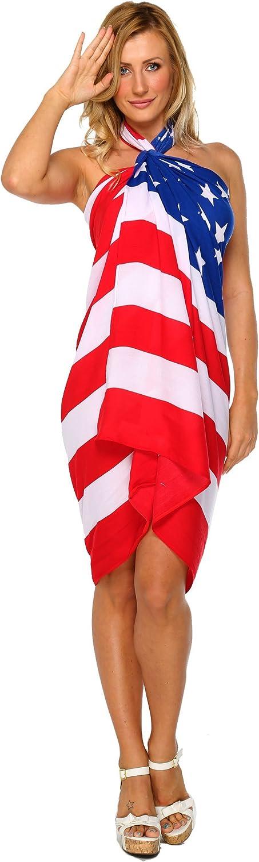 1 World Sarongs Womens American Flag Swimsuit CoverUp Sarong