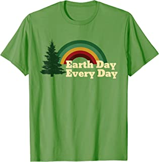 Earth Day Everyday Rainbow Pine Tree Design T-Shirt