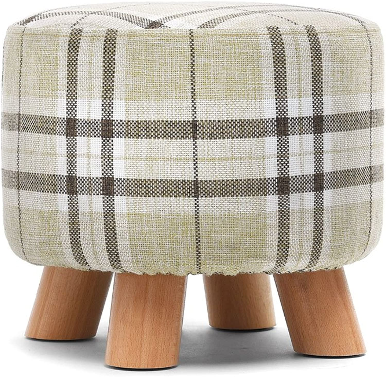 DDSS Household shoes Bench Living Room Coffee Table Stool Fabric Sofa Stool Solid Wood Low Stool Round Adult Bench Fashion Creativity Pure color Lattice Living Room Furniture (color   C)